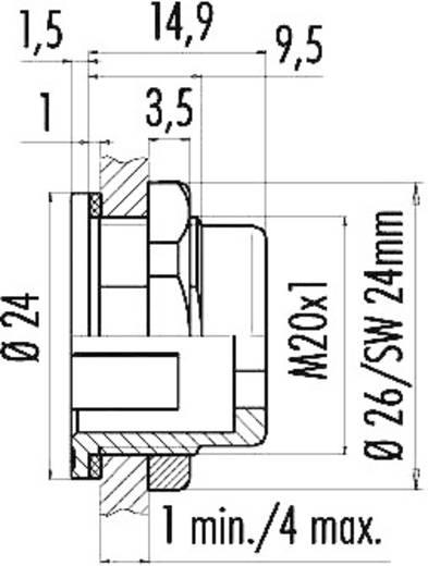 Miniatuur ronde stekker, serie 720 Bevestiging vanaf de achterzijde 08-2433-000-001 Binder 1 stuks