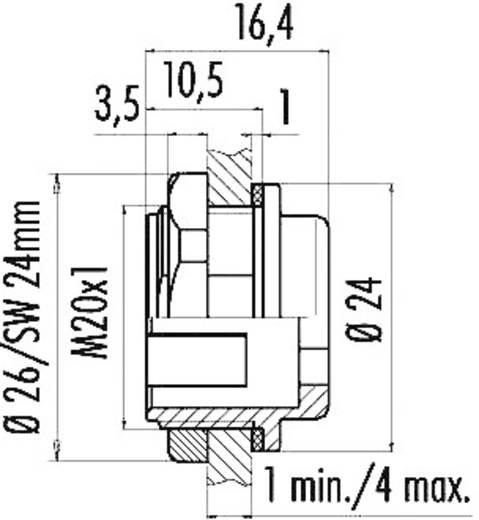 Miniatuur ronde stekker, serie 720 Bevestiging vanaf de voorzijde Binder 08-2434-000-001 IP67