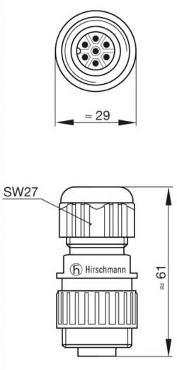 Netspanningsconnectoren voor de CA-Serie Nominale stroom: 10 A/AC/DC Aantal polen: 6 + PE 934 126-100 Hirschmann 1 stuks