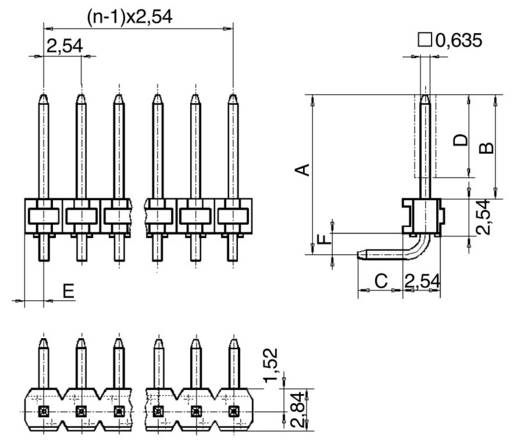 Male header (standaard) Aantal rijen: 1 Aantal polen per rij: 5 BKL Electronic 10120522 1 stuks