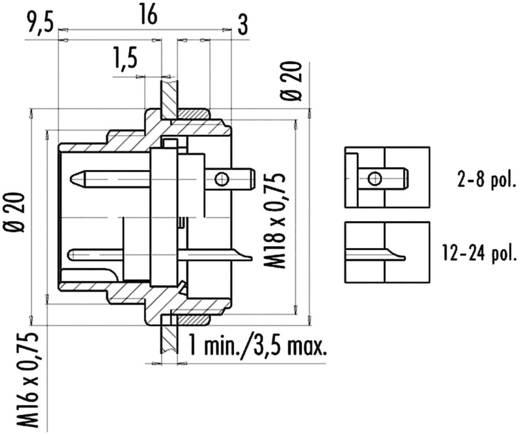 Ronde miniatuur-stekker serie 581 en 680 Flensstekker Binder 09-0473-00-08 IP40 Aantal polen: 8 DIN