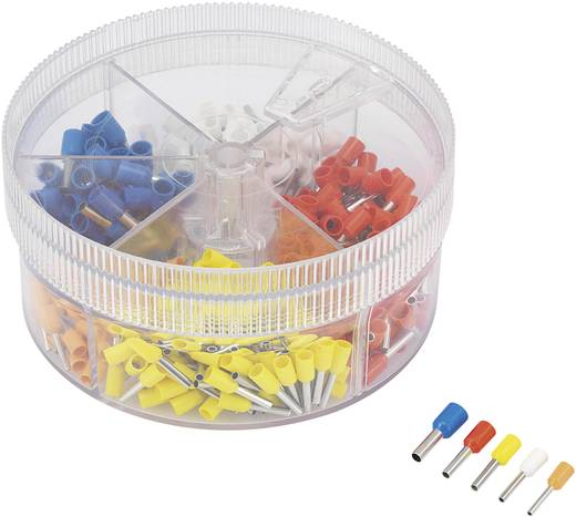 Conrad Components 93014c615 Adereindhuls assortiment 0.5 mm² 2.5 mm² Oranje, Wit, Geel, Rood, Blauw 400 stuks
