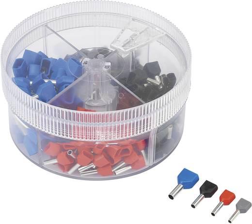 Conrad Components 93014c623 Dubbel-adereindhulzen-assortiment 0.5 mm² 2.5 mm² Grijs, Rood, Zwart, Blauw 200 stuks