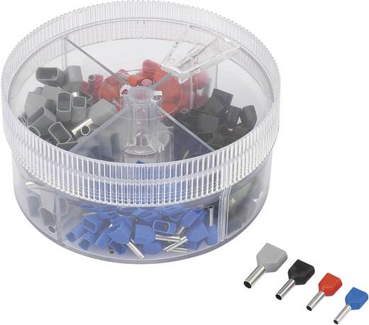 Conrad Components 93014c621 Dubbel-adereindhulzen-assortiment 0.75 mm² 2.5 mm² Blauw, Rood, Zwart, Grijs 200 stuks