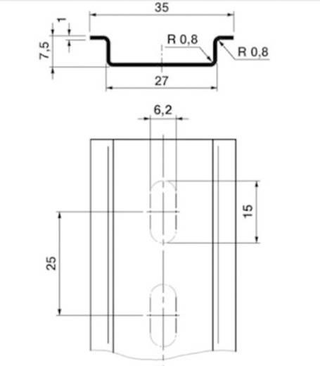 Phoenix Contact NS 35/ 7,5 ZN gelocht 2000MM DIN-rail Geschikt voor (details): Draagrailmontage 2 m