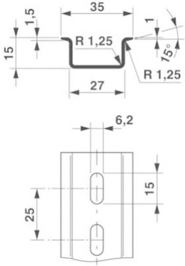 Phoenix Contact NS 35/15 ZN gelocht 2000MM Dopprofiel-draagrail Geschikt voor: Draagrailmontage 2 m