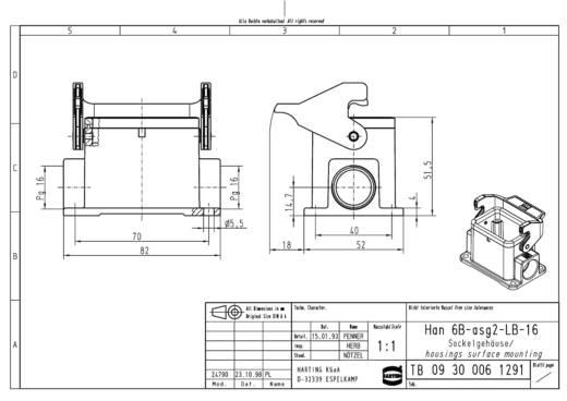 Harting 09 30 006 1291 Socketbehuzing Han® 6B-asg2-LB-16 1 stuks