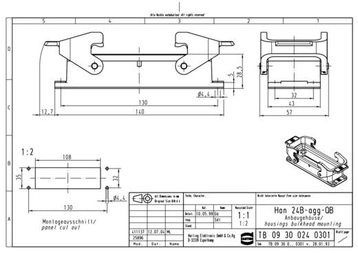 Harting 09 30 024 0301 Opbouwbehuizing Han® 24B-agg-QB 1 stuks