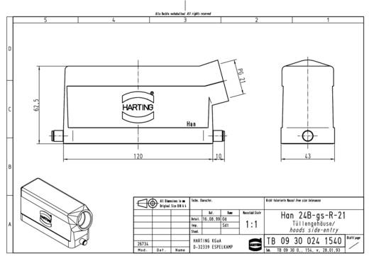 Harting 09 30 024 1540 Afdekkap Han® 24B-gs-R-21 1 stuks