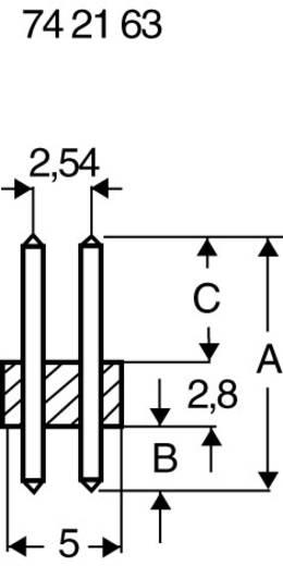 Male header (standaard) Aantal rijen: 2 Aantal polen per rij: 10 BKL Electronic 10120168 1 stuks