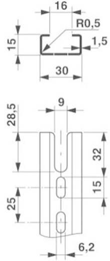 Draagrail NS 30/15 geperforeerd 2000mm Phoenix Contact