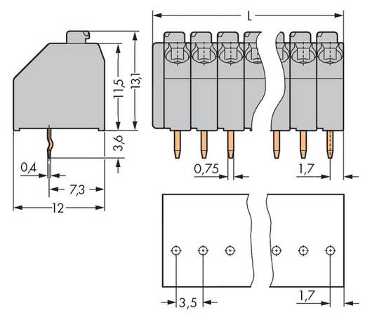 Veerkachtklemblok 1.50 mm² Aantal polen 21 250-121 WAGO Grijs 60 stuks