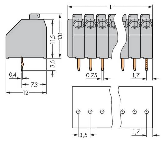 Veerkachtklemblok 1.50 mm² Aantal polen 6 250-106 WAGO Grijs 200 stuks