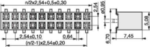 Female connector (standaard) Aantal rijen: 2 Aantal polen per rij: 8 MPE Garry 098-6-016-0-NFX-YT0 87 stuks