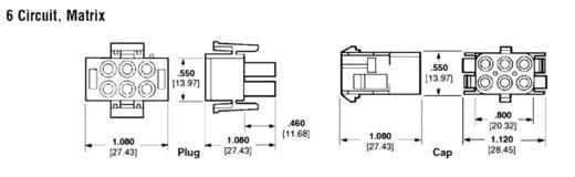 Busbehuizing-kabel Universal-MATE-N-LOK Totaal aantal polen 6 TE Connectivity 350781-1 Rastermaat: 6.35 mm 1 stuks