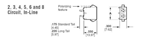TE Connectivity 350786-1 Penbehuizing-board Universal-MATE-N-LOK Totaal aantal polen 2 Rastermaat: 6.35 mm 1 stuks