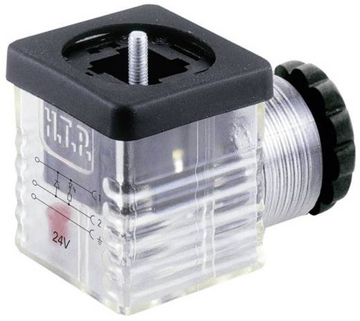 HTP G1TU2DL1 Klepstekker met diode Zwart, Transparant Aantal polen:2 + PE Inhoud: 1 stuks