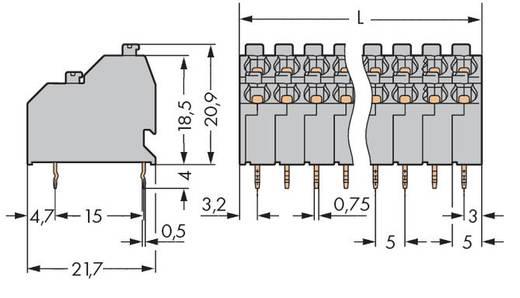 Dubbeldeksklem 1.00 mm² Aantal polen 20 DOUBLE-DECK PCB TERM BL. 10-P. 5MM WAGO Grijs 48 stuks