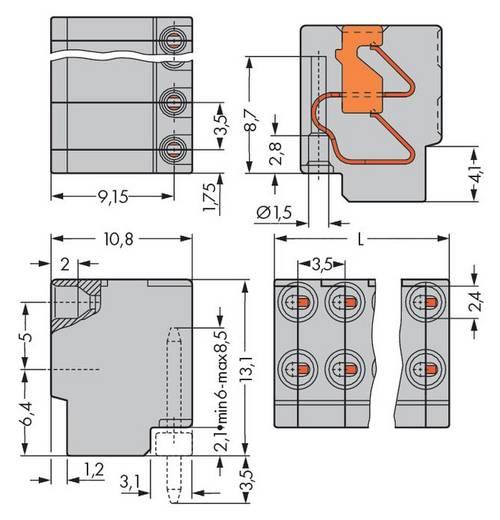 WAGO 252-108 Busbehuizing-kabel 252 Totaal aantal polen 8 Rastermaat: 3.50 mm 200 stuks