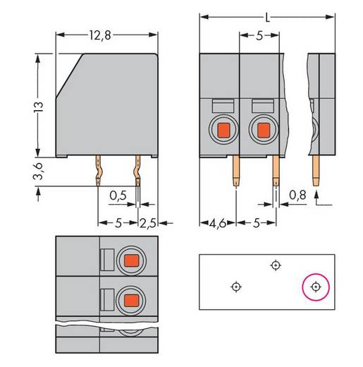Veerkachtklemblok Aantal polen 6 253-106/000-012 WAGO Oranje 140 stuks