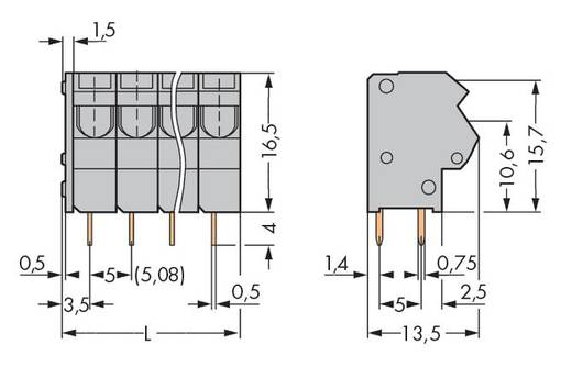 Veerkachtklemblok 1.50 mm² Aantal polen 5 254-455 WAGO Grijs 180 stuks