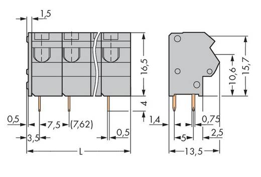 Veerkachtklemblok 1.50 mm² Aantal polen 12 254-562 WAGO Grijs 40 stuks