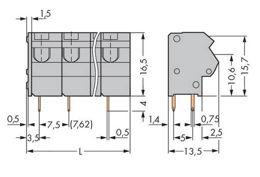 Veerkachtklemblok 1.50 mm² Aantal polen 6 WAGO Grijs 100 stuks