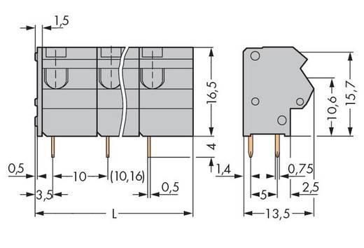Veerkachtklemblok 1.50 mm² Aantal polen 4 WAGO Grijs 100 stuks