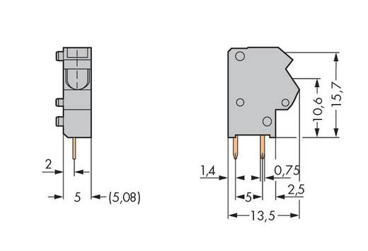 Veerkachtklemblok 1.50 mm² Aantal polen 1 Pcb TERMINAL BLOCK WAGO Blauw 500 stuks