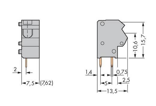 Veerkachtklemblok 1.50 mm² Aantal polen 1 TERMINAL BLOCK - DARK GREY WAGO Donkergrijs 400 stuks