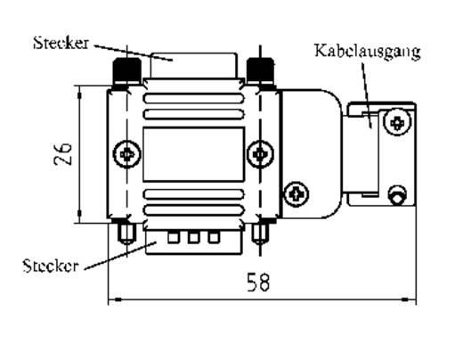 Provertha 77091M D-SUB adapterbehuizing Aantal polen: 9 Kunststof, gemetalliseerd 90 °, 90 ° Zilver 1 stuks