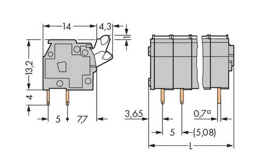Veerkachtklemblok 2.50 mm² Aantal polen 9 255-409 WAGO Grijs 100 stuks