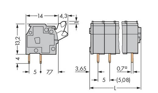 Veerkachtklemblok 2.50 mm² Aantal polen 9 WAGO Grijs 100 stuks