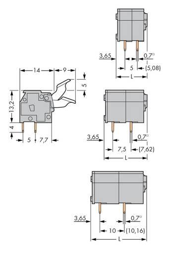 Veerkachtklemblok 2.50 mm² Aantal polen 2 PCB MOUNT TERMINAL 2 POLE FINGER LEV WAGO Grijs 400 stuks