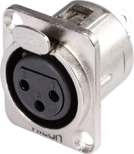 Hicon HI-X3DF XLR-connector Flensbus, contacten recht Aantal polen: 3 Zilver, Zwart 1 stuks