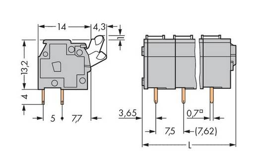 Veerkachtklemblok 2.50 mm² Aantal polen 8 WAGO Grijs 60 stuks