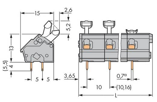 Veerkachtklemblok 2.50 mm² Aantal polen 24 256-624 WAGO Grijs 20 stuks