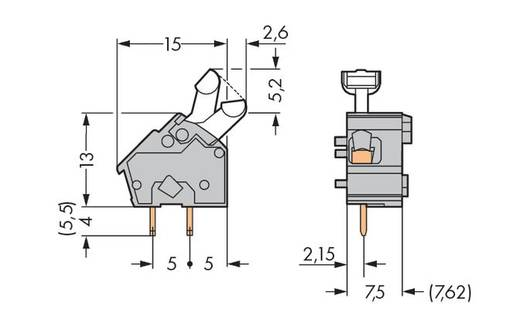 Veerkachtklemblok 2.50 mm² Aantal polen 1 256-752 WAGO Donkergrijs 400 stuks