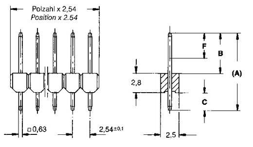 Male header (standaard) Aantal rijen: 1 Aantal polen per rij: 50 TE Connectivity 5-826629-0 1 stuks