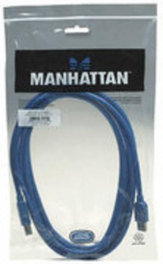 Manhattan USB 3.0 Aansluitkabel [1x USB 3.0 stekker A - 1x USB 3.0 stekker B] 3 m Blauw Vergulde steekcontacten, UL gecertificeerd