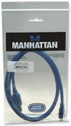 Manhattan USB 3.0 Aansluitkabel [1x USB 3.0 stekker A - 1x USB 3.0 stekker micro B] 1 m Blauw Vergulde steekcontacten, U