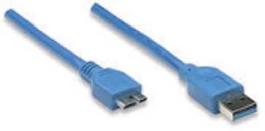 Manhattan USB 3.0 Aansluitkabel [1x USB 3.0 stekker A - 1x USB 3.0 stekker micro B] 1 m Blauw Vergulde steekcontacten, UL gecertificeerd