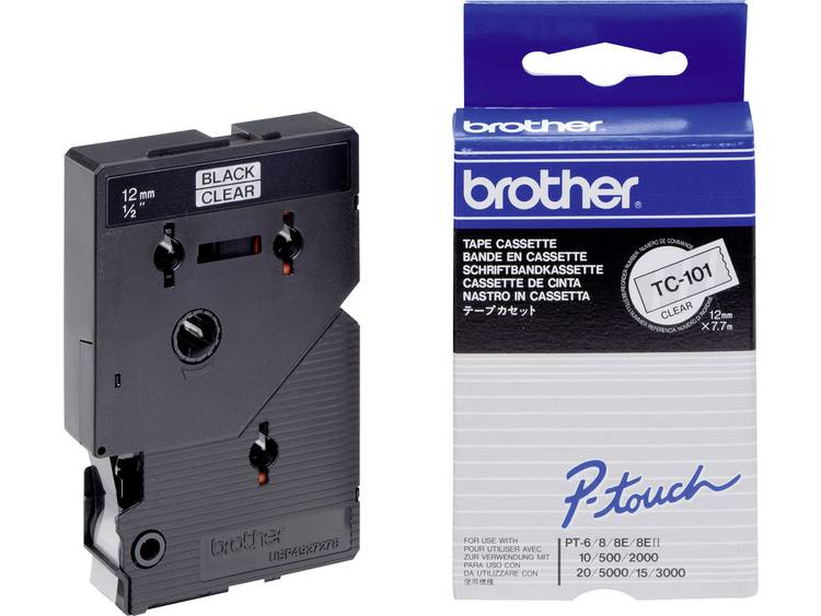 Brother TC-101 Labeltape Tapekleur: Transparant Tekstkleur: Zwart 12 mm 7.7 m