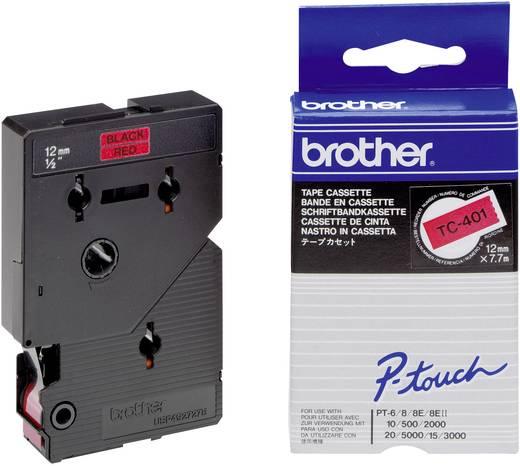 Brother TC-401 Labeltape Tapekleur: Rood Tekstkleur:Zwart 12 mm 7.7 m