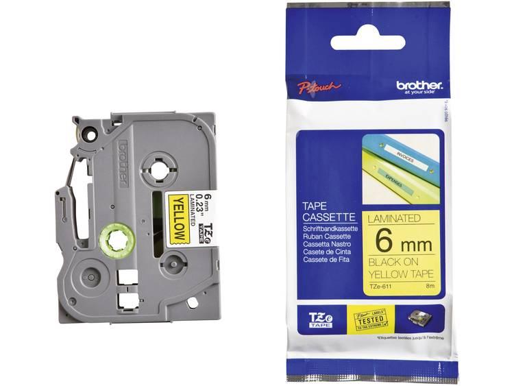 Brother TZe-611 Labeltape Tapekleur: Geel Tekstkleur: Zwart 6 mm 8 m