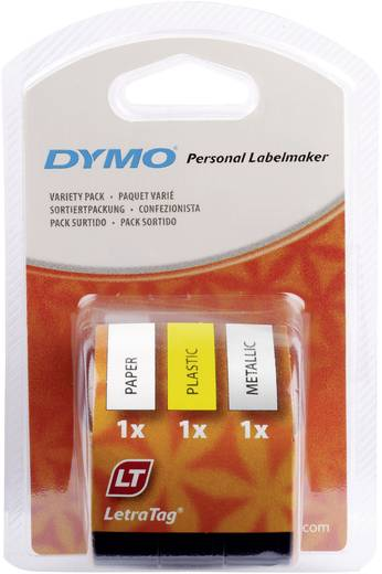 DYMO 91241 Labeltape Set van 3 Tapekleur: Hyper-geel, Zilver, Wit Tekstkleur:Zwart 12 mm 4 m