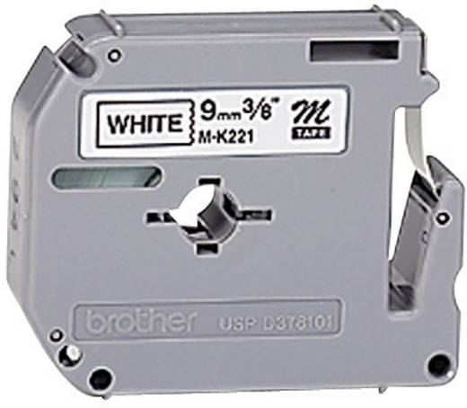 Brother M-K221 Labeltape Tapekleur: Wit Tekstkleur: Zwart 9 mm 8 m