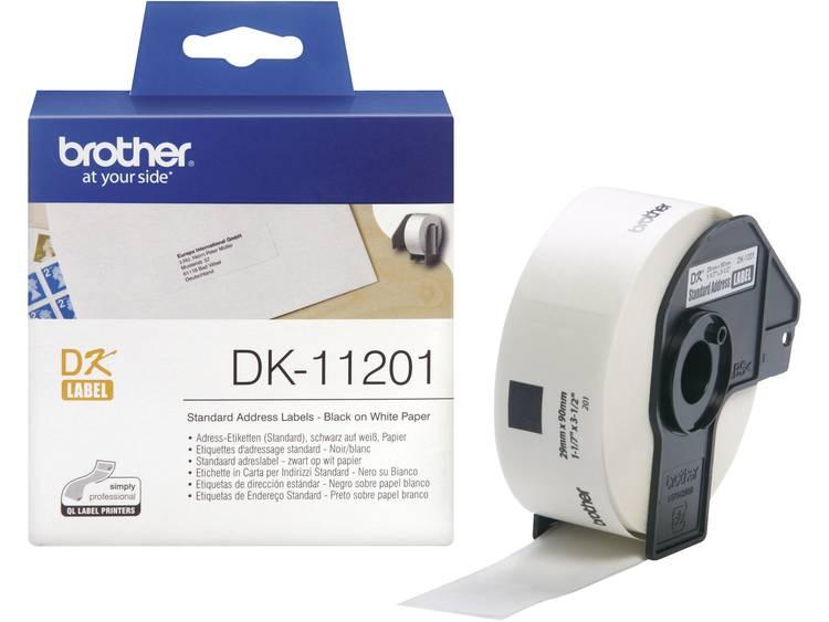 Brother Etiketten (rol) 90 x 29 mm Papier Wit 400 stuks Permanent DK11201 DK-11201 Adresetiketten