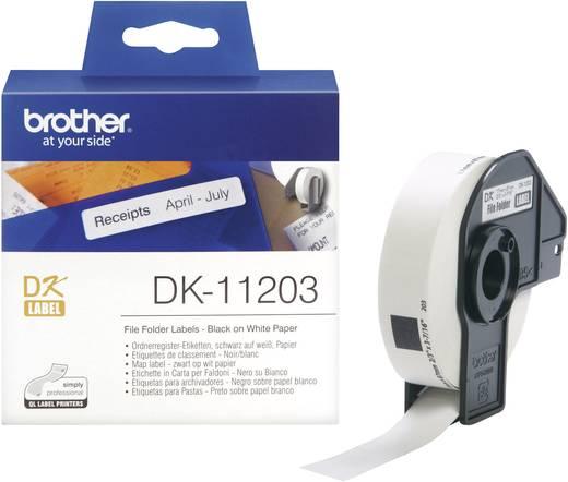 Brother Etiketten (rol) 17 x 87 mm Papier Wit 300 stuks Permanent DK11203 Etiketten voor ordnerinhoudsopgaves