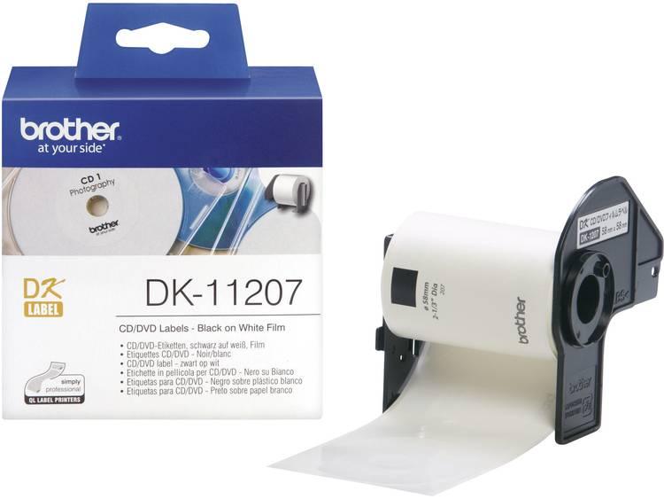 Brother Etiketten (rol) Ã 58 mm Folie Wit 100 stuks Permanent DK11207 DK-11207 CD-etiketten, DVD-etiketten